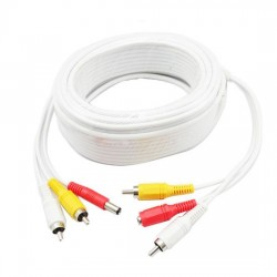 Cable For CCTV Security Camera 20m with audio white