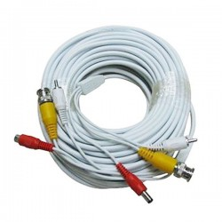 Cable For CCTV Security Camera 10m with audio white