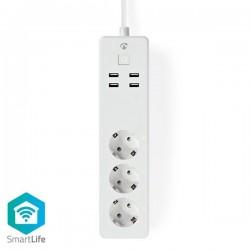 NEDIS  WiFi Smart Πολύπριζο με 4 θύρες USB 16A-WIFIP310FWT