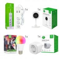 WOOX Smart Home Σετ Συστήματος Αυτοματισμού με Wi-Fi IP Κάμερα, Πρίζα, Πολύπριζο και Λάμπα- R4445