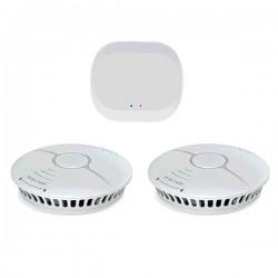 WOOX Zigbee ΣΕΤ πυρασφάλειας με 2 αισθητήρες καπνού και Hub - R7074