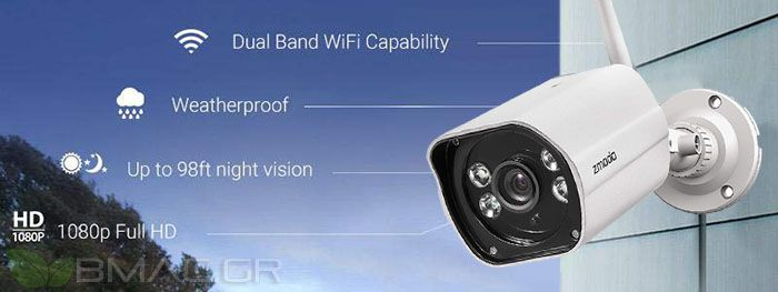 Zmodo NVR 8CH with 2 IP Dual Band Wi-Fi 2 4GHz/5GHz Cameras- H2925-SS800