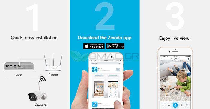 Zmodo NVR 8CH with 2 IP Dual Band Wi-Fi 2 4GHz/5GHz Cameras-